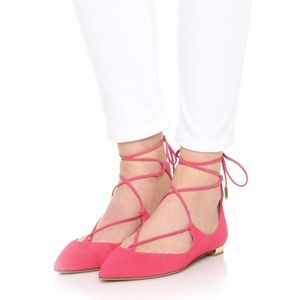 Aquazzura 'Christy' coral suede flats